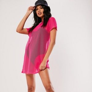 Pink Oversized Fishnet T-Shirt Dress by MISSGUIDED